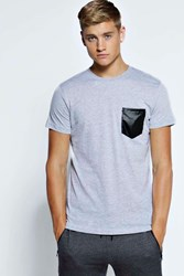 Crew Neck Pu Pocket T Shirt