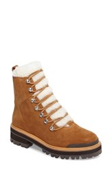 Marc Fisher Ltd Izzie Genuine Shearling Lace Up Boot Cognac Suede