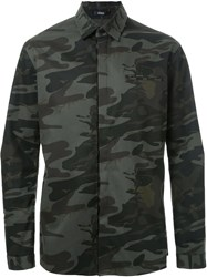 Assin Camouflage Print Shirt Green