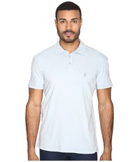 John Varvatos Soft Collar Peace Polo With Peace Sign Chest Embroidery K1381s4b Blue Mist Men's Clothing