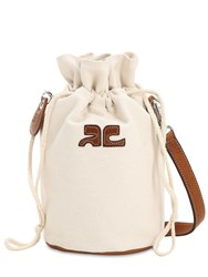 Courreges Mini Iconic Cotton Canvas Shoulder Bag Off White