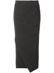 Allude Asymmetric Knitted Skirt Grey
