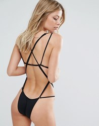 Minimale Animale Black Strappy Swimsuit Black