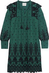 Sea Broderie Anglaise Cotton Dress Forest Green
