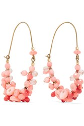 Isabel Marant Jacques Gold Tone Bamboo And Bead Earrings Coral