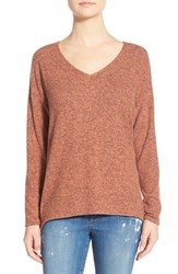 Women's Gibson 'Yummy Fleece' High Low V Neck Pullover Coral Apple