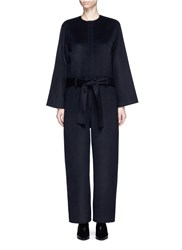 Ms Min Wool Blend Flannel Jumpsuit Black
