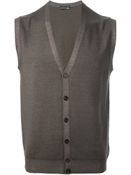 Barba Sleeveless Caardigan Brown