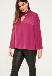 Missguided Plus Size Pink Cross Neck Bell Sleeve Blouse Plum