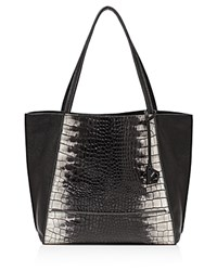 Botkier Soho Heavy Grain Pebbled Leather Tote Black White Snake