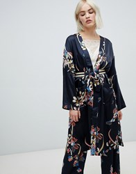 Pepe Jeans Harpers Floral Print Wrap Dress Navy