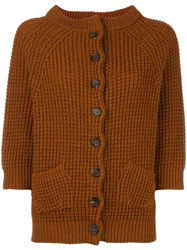 Stefano Mortari Cable Knit Cardigan Yellow Orange
