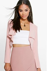 Boohoo Waterfall Crop Blazer Blush