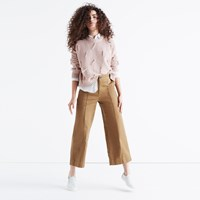 Madewell Langford Wide Leg Crop Pants Pintuck Edition Classic Desert
