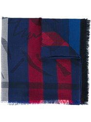 Kenzo Patterned Scarf Blue