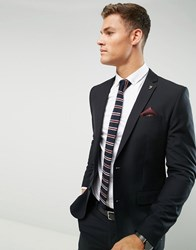 Farah Skinny Suit Jacket In Black Black