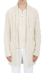 John Varvatos Men's Nubby Cable Knit Cardigan White