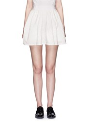Victoria Beckham Floral Cloque Pleated Mini Skirt White