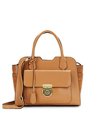 London Fog Crocodile Embossed And Matte Faux Leather Satchel Camel
