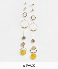 Warehouse 6 Pack Earrings With Resin In Gold