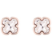 Karen Millen Art Swarovski Crystal Flower Stud Earrings Rose Gold