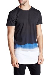 Religion Water Color Short Sleeve Longline Tee Blue
