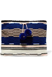 Sophie Anderson Lia Crocheted Cotton Pouch Blue