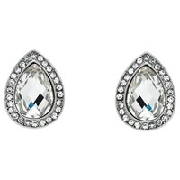 Monet Glass Crystal Teardrop Stud Earrings Silver Clear