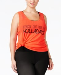 Material Girl Active Plus Size Turn It Up Graphic Racerback Tank Top Only At Macy's Hot Chilli