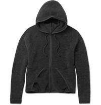 Beams Beam Wool Blend Fleece Zip Up Hoodie Charcoal