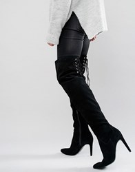 Faith Solo Fierce Tie Back Suede Heeled Over The Knee Boots Black