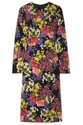 Dolce And Gabbana Floral Print Silk Blend Midi Dress Black