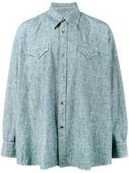 Our Legacy Ranch Snap Button Shirt Men Cotton 2 Blue