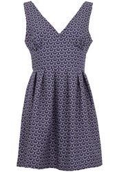 Wolf And Whistle Navy And Cream Cotton Dress