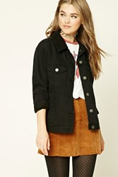 Forever 21 Faux Shearling Lined Jacket Black