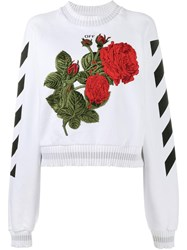 Off White Rose Embroidered Sweatshirt White