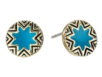 House Of Harlow Enameled Sunburst Studs Teal Earring Blue