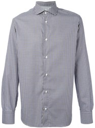Eleventy Gingham Check Shirt Blue
