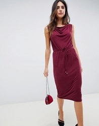 Oasis Drape Midi Dress Dark Wine Red