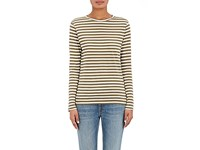 Barneys New York Women's Striped Cotton Jersey Long Sleeve T Shirt Dark Green