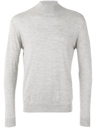 N.Peal Fine Gauge Mock Turtle Neck Jumper Grey