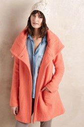 Anthropologie Boiled Wool Sweater Coat Pink