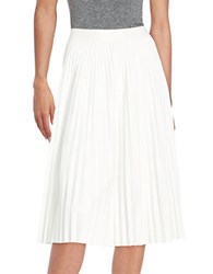 Bailey 44 Pleated Leatherette Skirt Cream