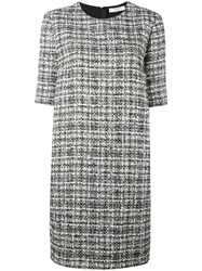 Lanvin Tweed Shift Dress Women Silk Cotton Acrylic Wool 44 Black