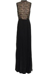 Mikael Aghal Woman Open Back Lace Paneled Pleated Georgette Gown Black