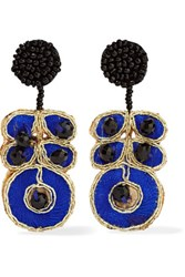 Kenneth Jay Lane Gold Plated Woven And Beaded Earrings Multi