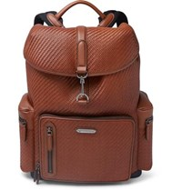 Ermenegildo Zegna Pelle Tessuta Burnished Leather Backpack Tan