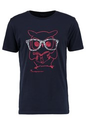 Knowledge Cotton Apparel Clever Owl Print Tshirt Total Eclipse Dark Blue