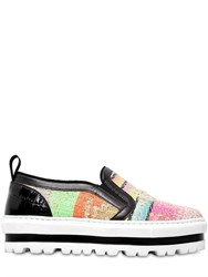 Msgm 40Mm Striped Cotton Platform Sneakers