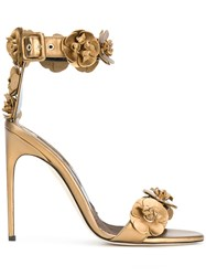 Brian Atwood 3D Flower Detail Sandals Brown